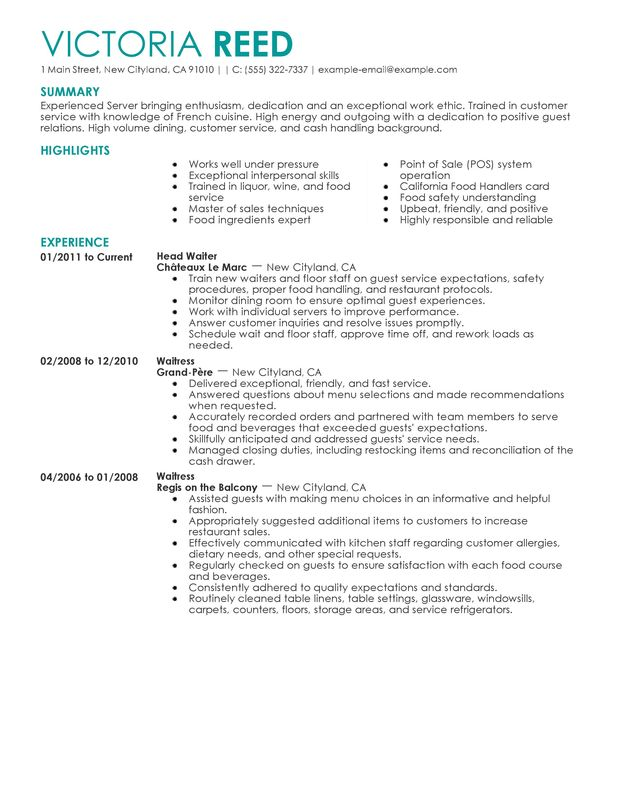 Unforgettable Restaurant Server Resume Examples to Stand Out - Sample Waitress Resume