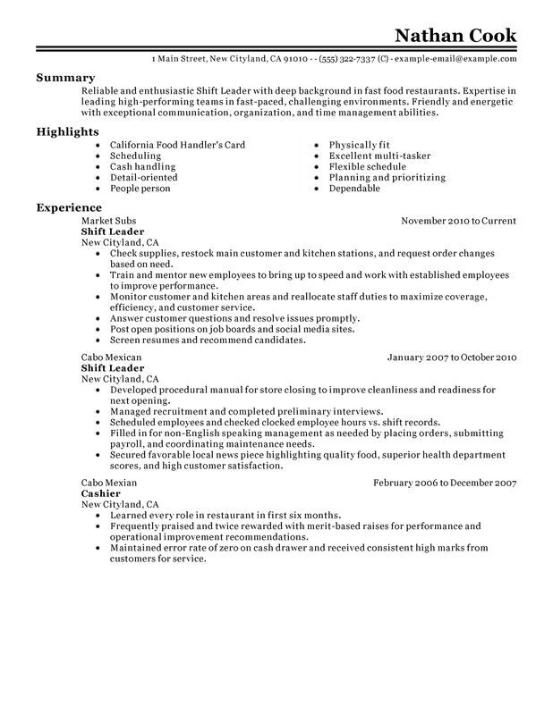 crew leader resume example