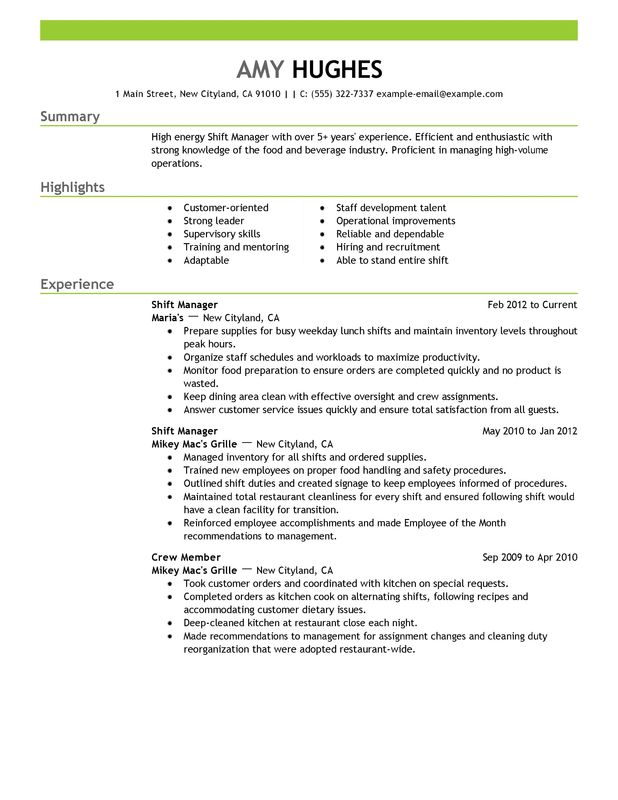Unforgettable Shift Manager Resume Examples to Stand Out - Food Service Manager Resume