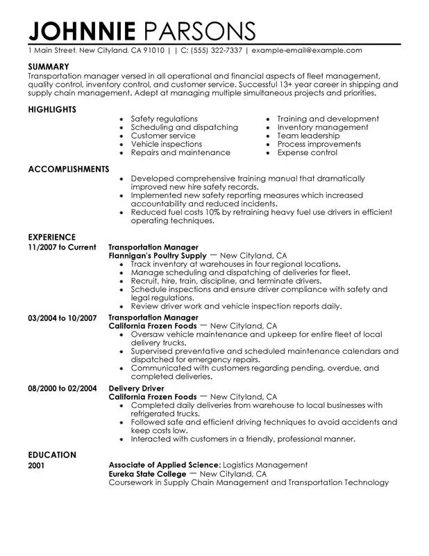 Transportation Store Manager Resume Examples {Created by Pros