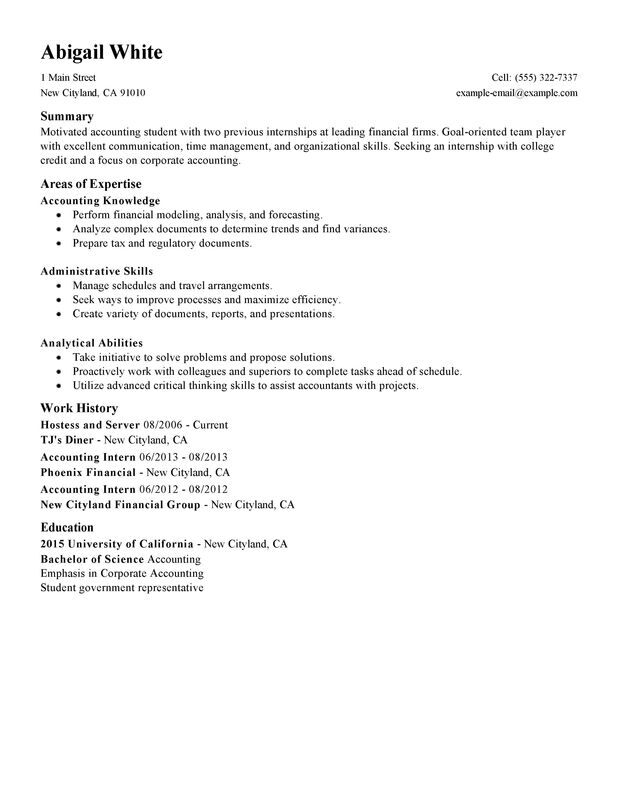Training Internship College Credits Resume Examples -- Free to Try