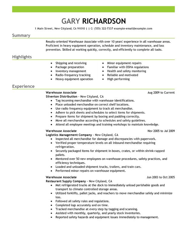 Warehouse Associate Resume Examples {Created by Pros} MyPerfectResume - examples of warehouse resume