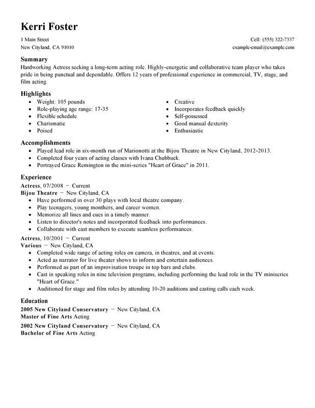 Actor/Actress Resume Examples \u2013 Free to Try Today MyPerfectResume - Career Resume Examples