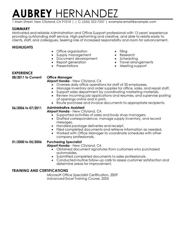 Impactful Professional Administration  Office Support Resume