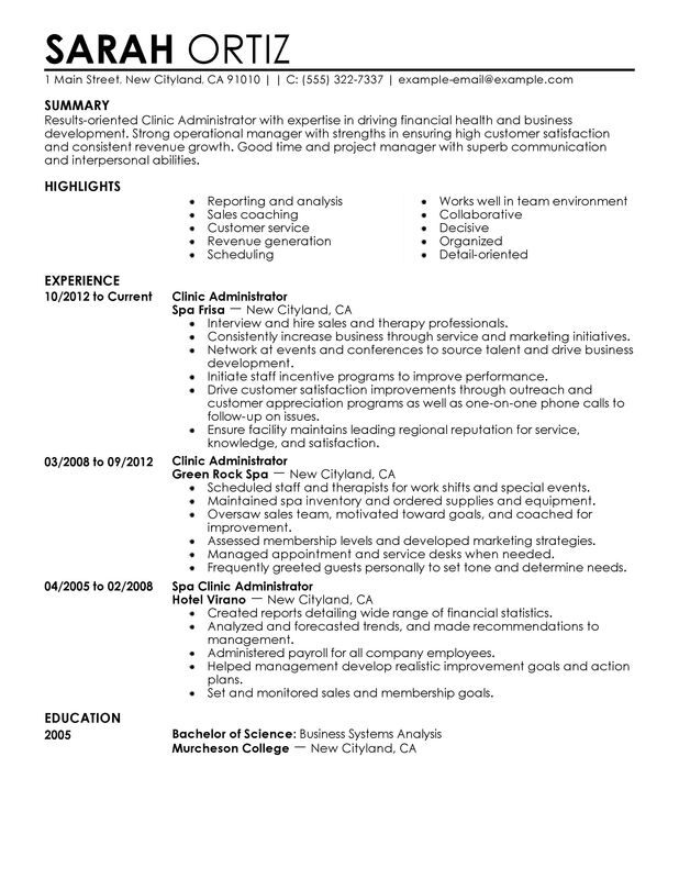 Clinic Administrator Resume Examples {Created by Pros} MyPerfectResume