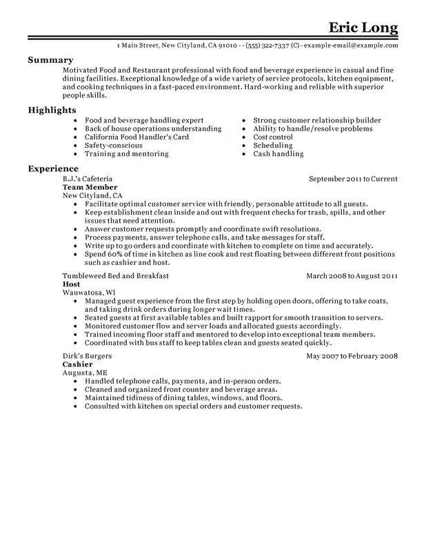 resume sample for resraurant