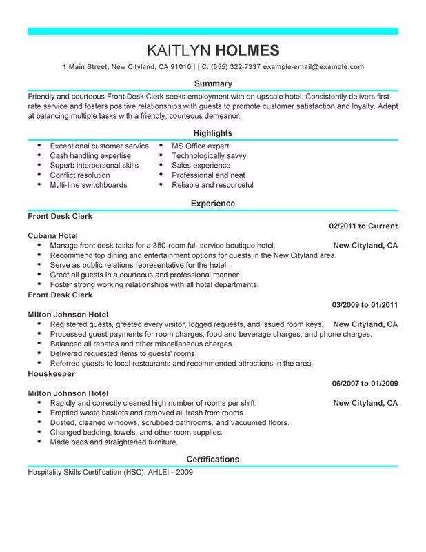 resume for front desk clerk
