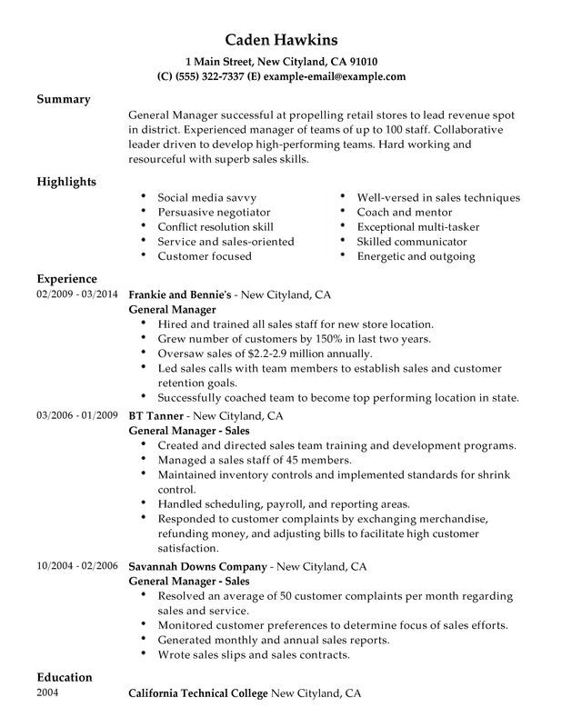 Unforgettable General Manager Resume Examples to Stand Out - General Resume Summary