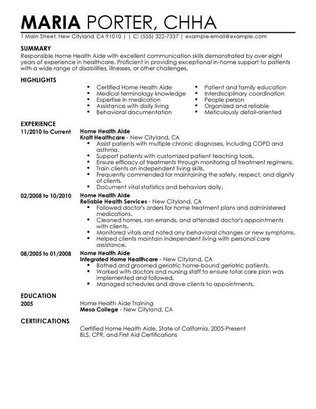 cna hha resume sample