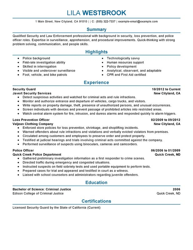 Impactful Professional Law Enforcement  Security Resume Examples - security agent sample resume