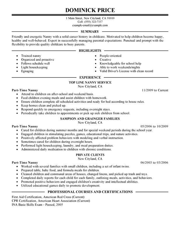 Unforgettable Part Time Nanny Resume Examples to Stand Out - Nanny Resume Skills