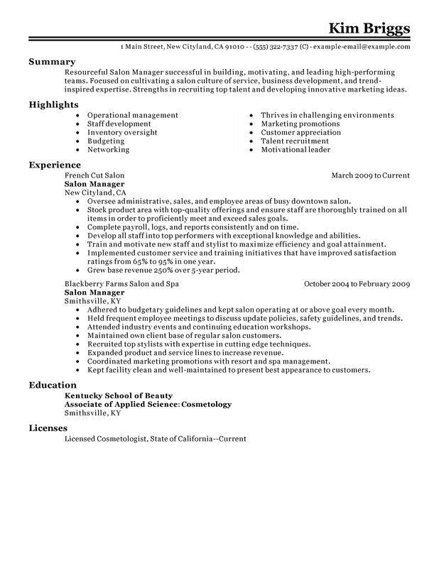 Impactful Professional Salon/Spa/Fitness Resume Resume Examples