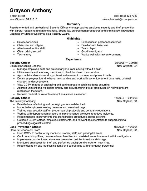 unarmed security guard resume template