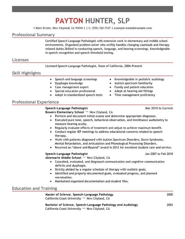 speech pathology resume example