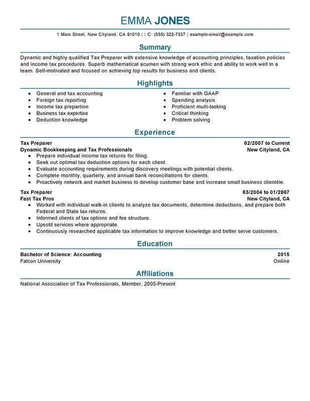 Tax Preparer Resume Examples \u2013 Free to Try Today MyPerfectResume