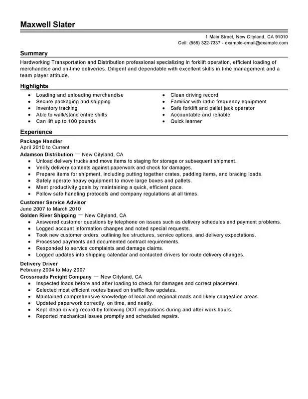 Impactful Professional Transportation Resume Resume Examples