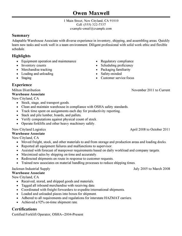 Impactful Professional Warehouse  Production Resume Examples - examples of warehouse resume