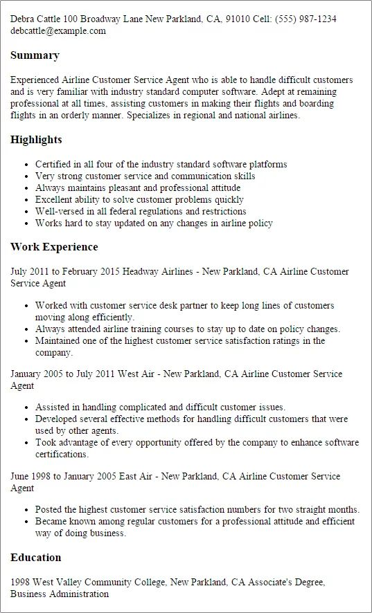 airline manager resume sample