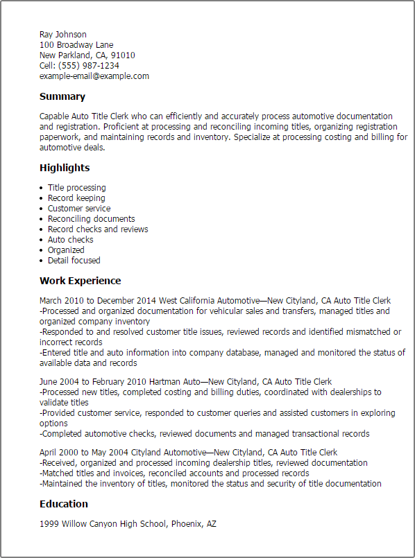 auto title clerk resume sample