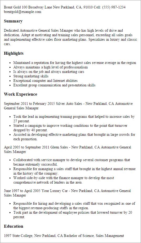 automotive resume summary examples