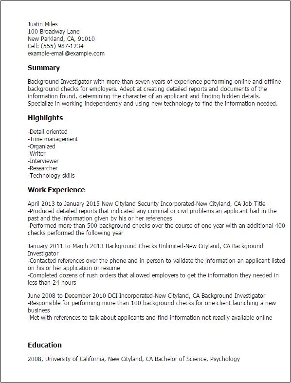 resume examples of background
