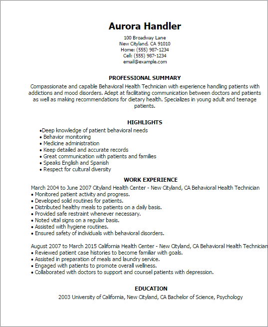 sample resume skills for behavioral health technician