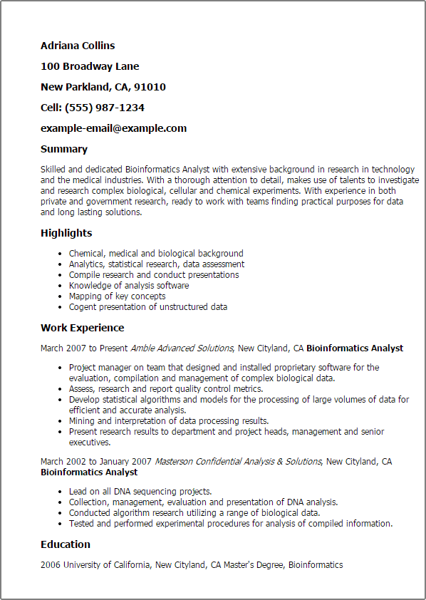 bioinformatics analyst resume sample