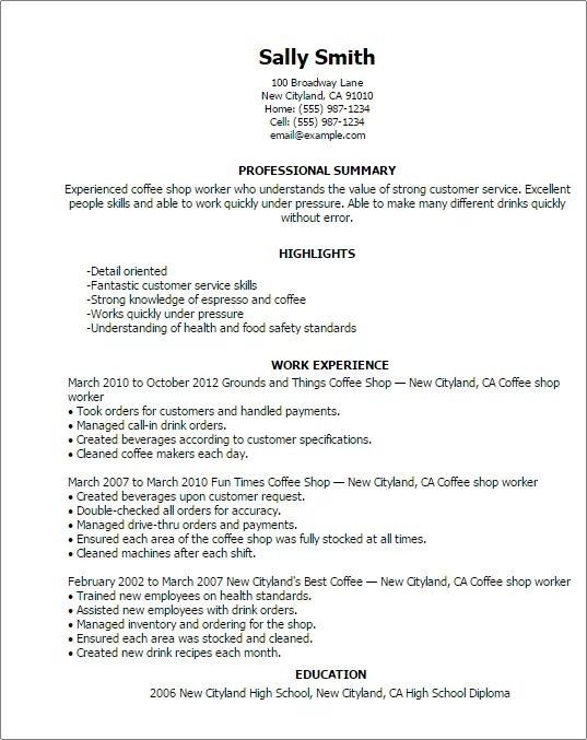 instructions and examples of resume