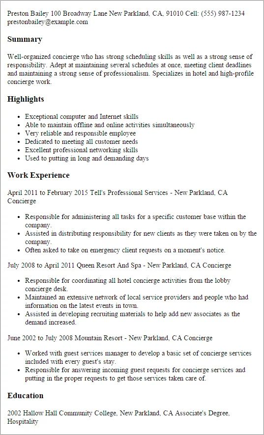 examples of concierge resumes