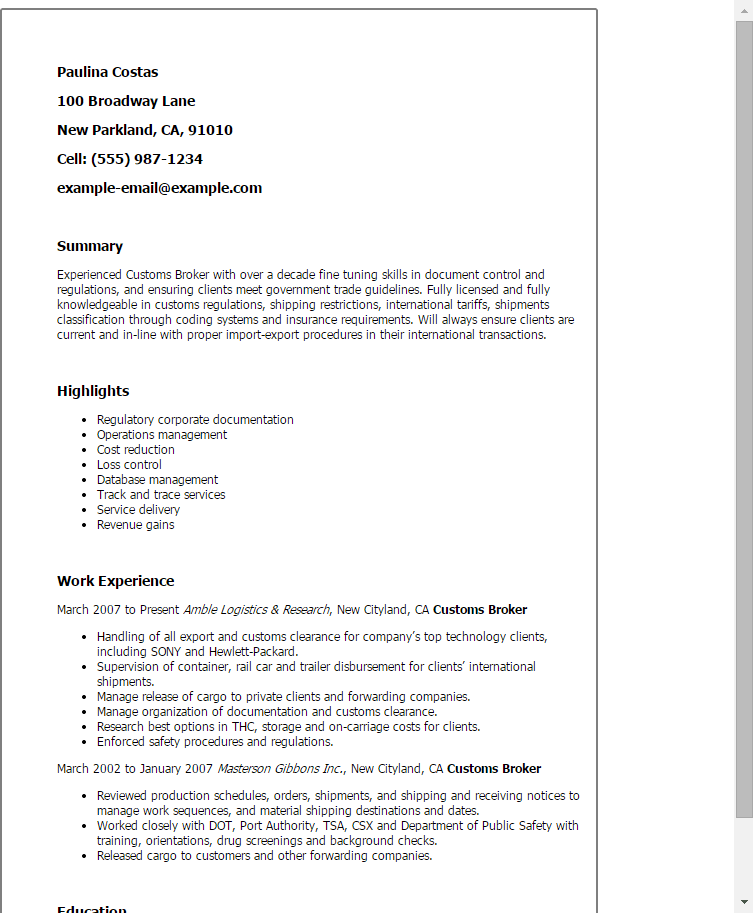 customs broker resume examples