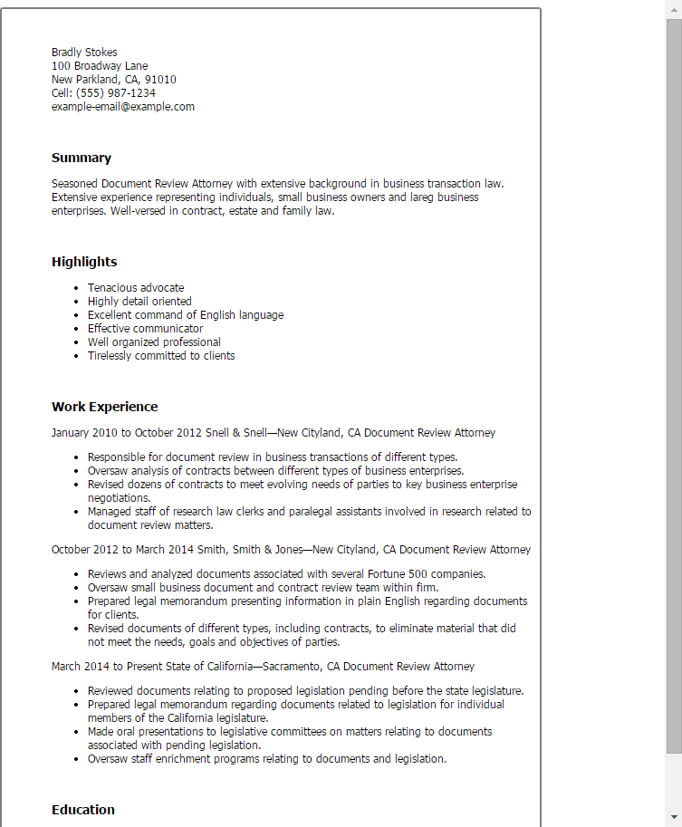 resume document review