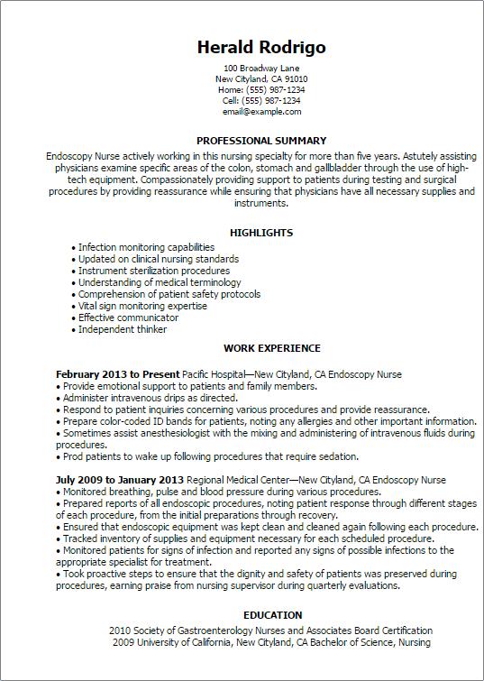 endoscopy nurse resume sample