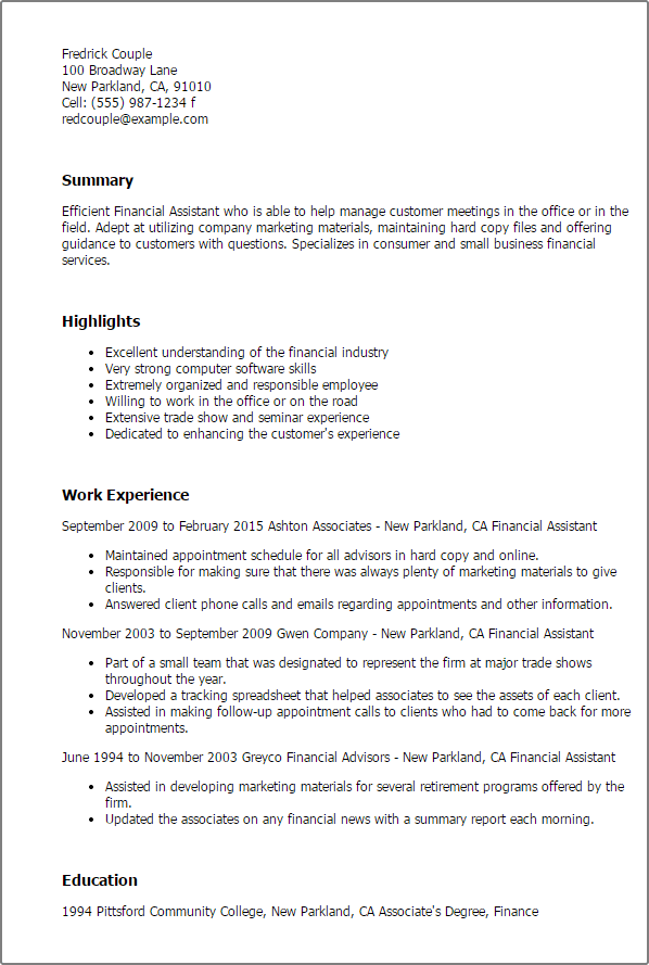 finance assistant resumes