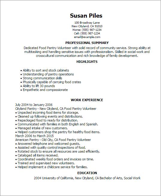 volunteer resume samples
