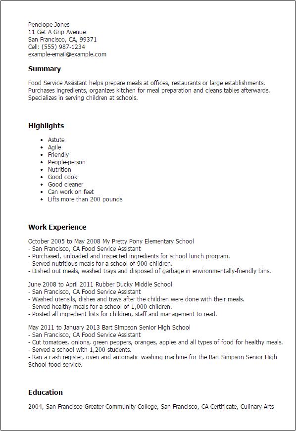 food service specialist resume sample