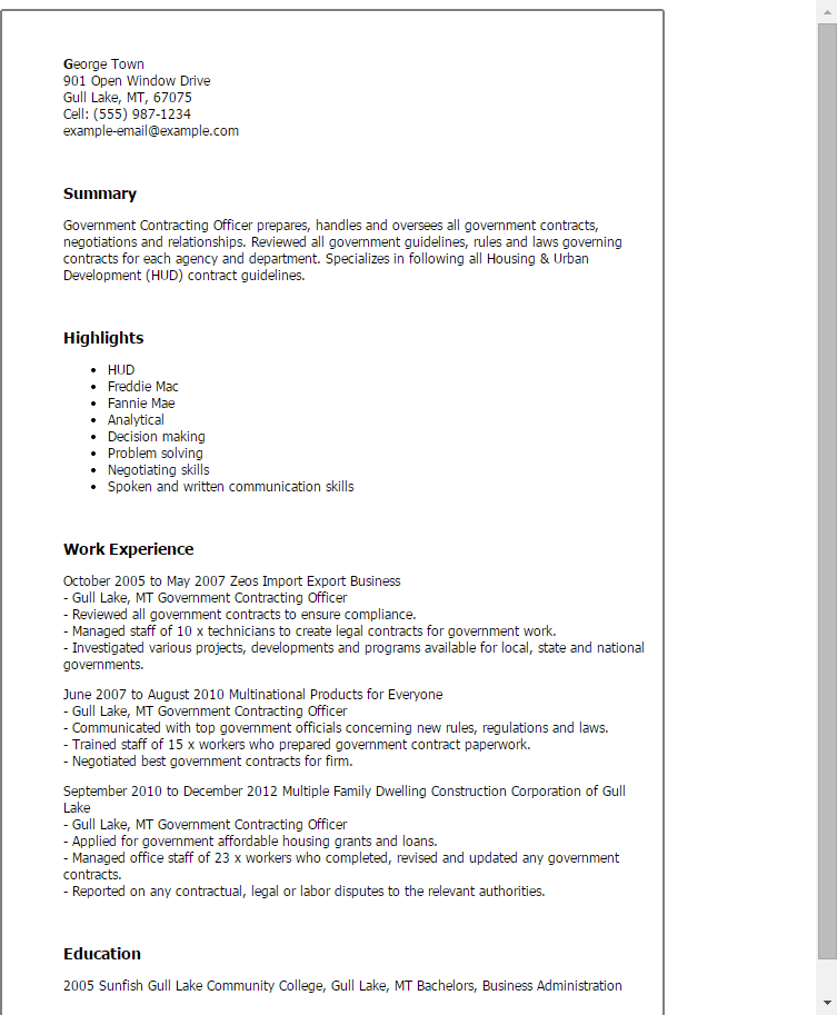 contract specialist resume examples