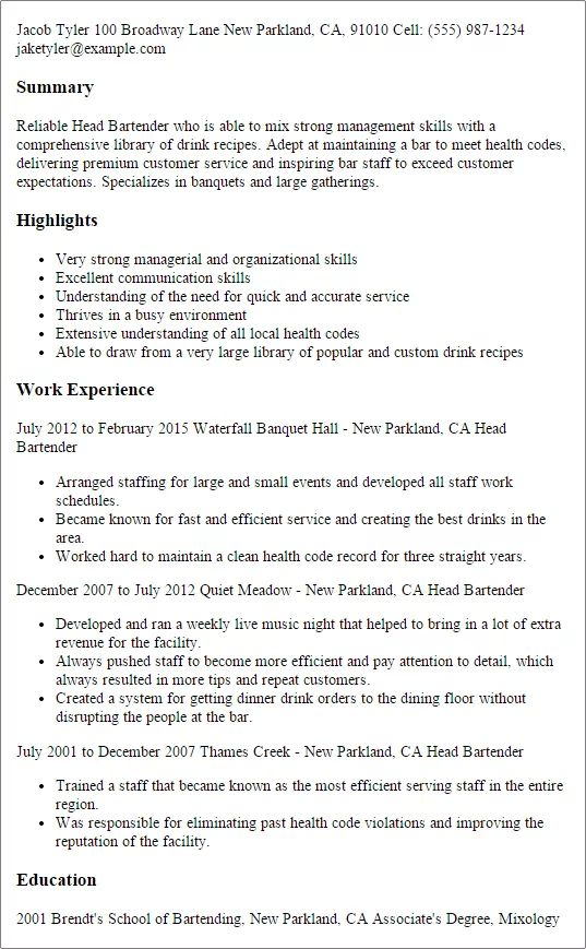 examples of resumes for bartenders and head waits