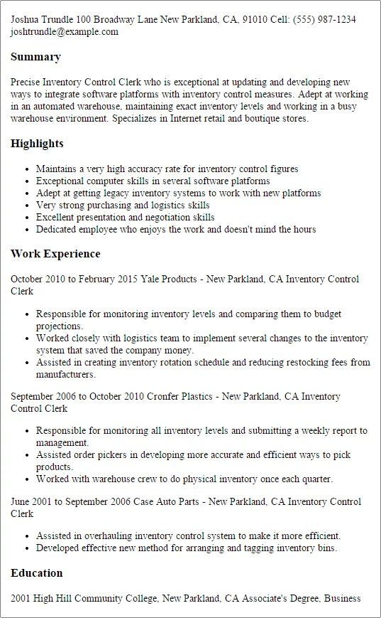 resume summary examples for inventory control