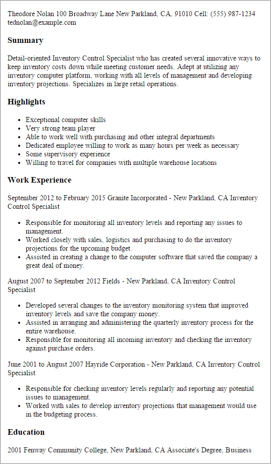 inventory resume examples