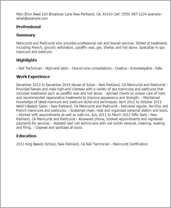 nail tech resume sample