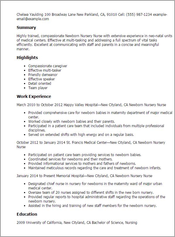 maternity nurse resume examples