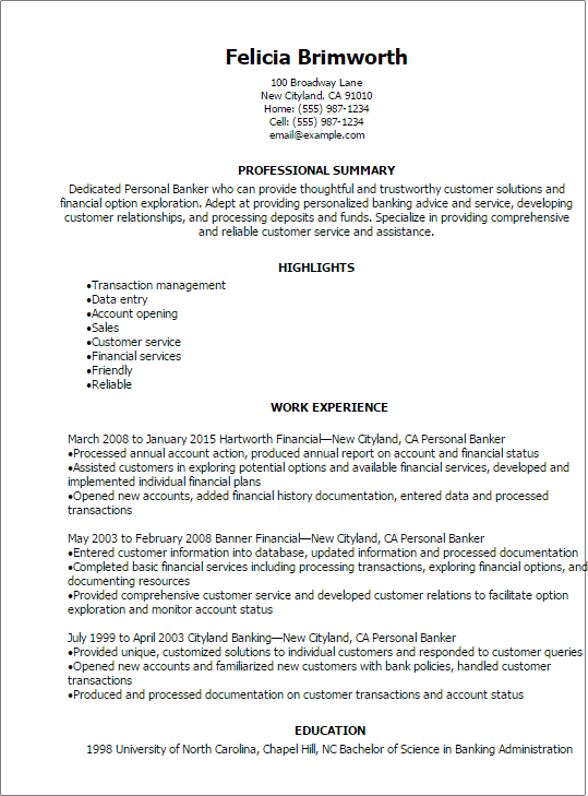 sample resume for customer service banking