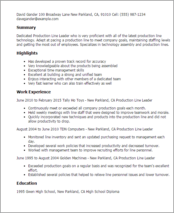 resume samples production engineer