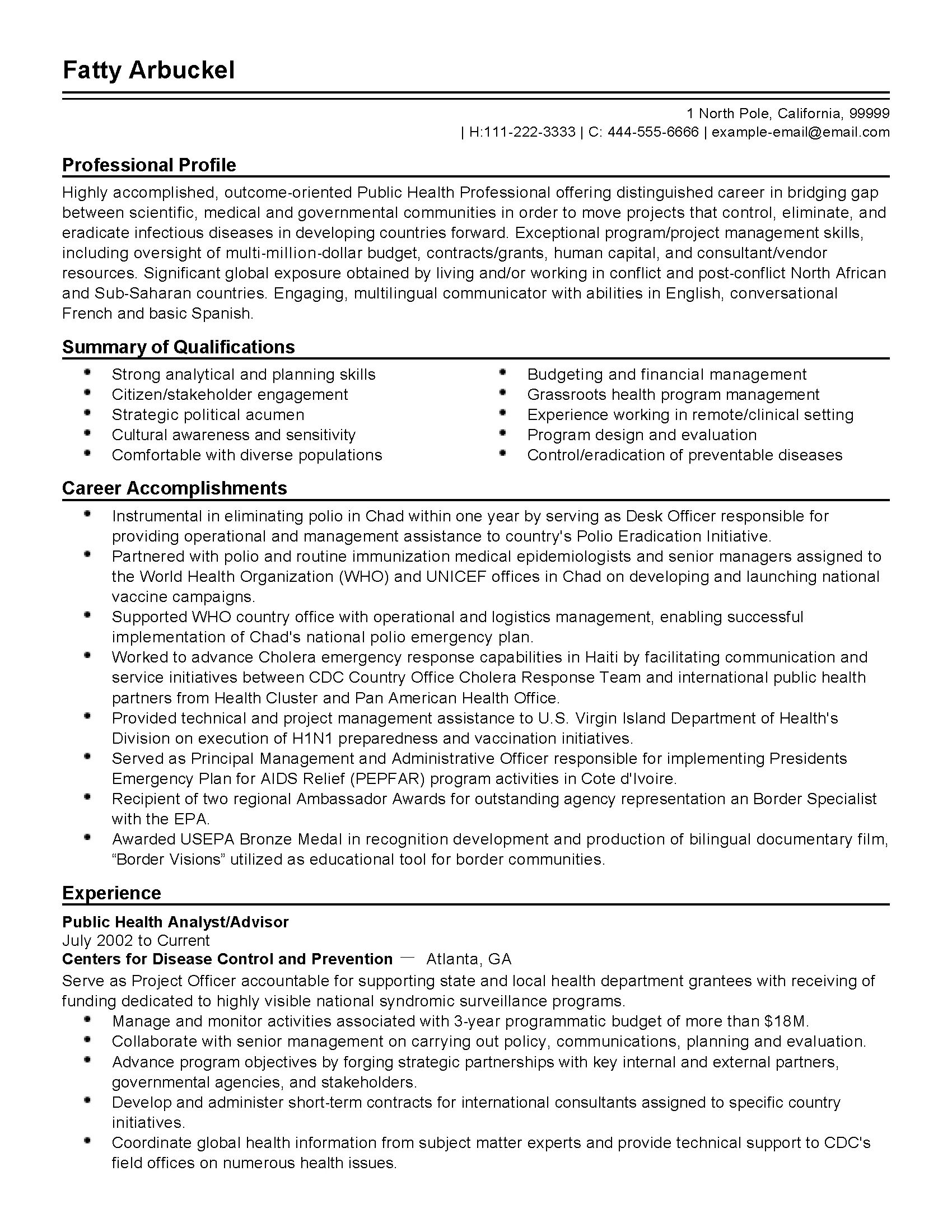 resume samples for public health professionals