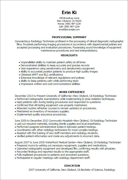 rad tech resume template
