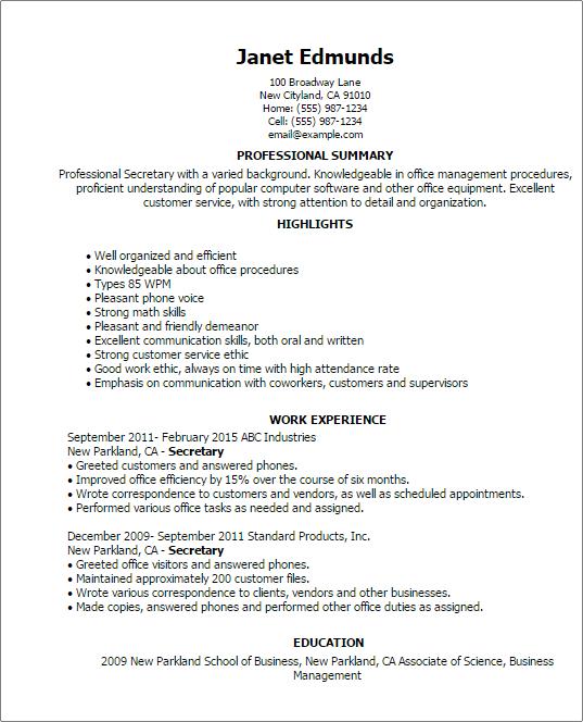 resume for secretaries