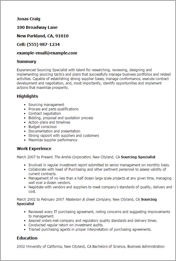 resume cover letter examples for sourcing manager