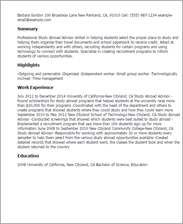 study abroad advisor resume sample