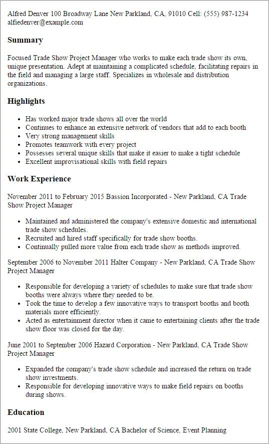 project manager cv