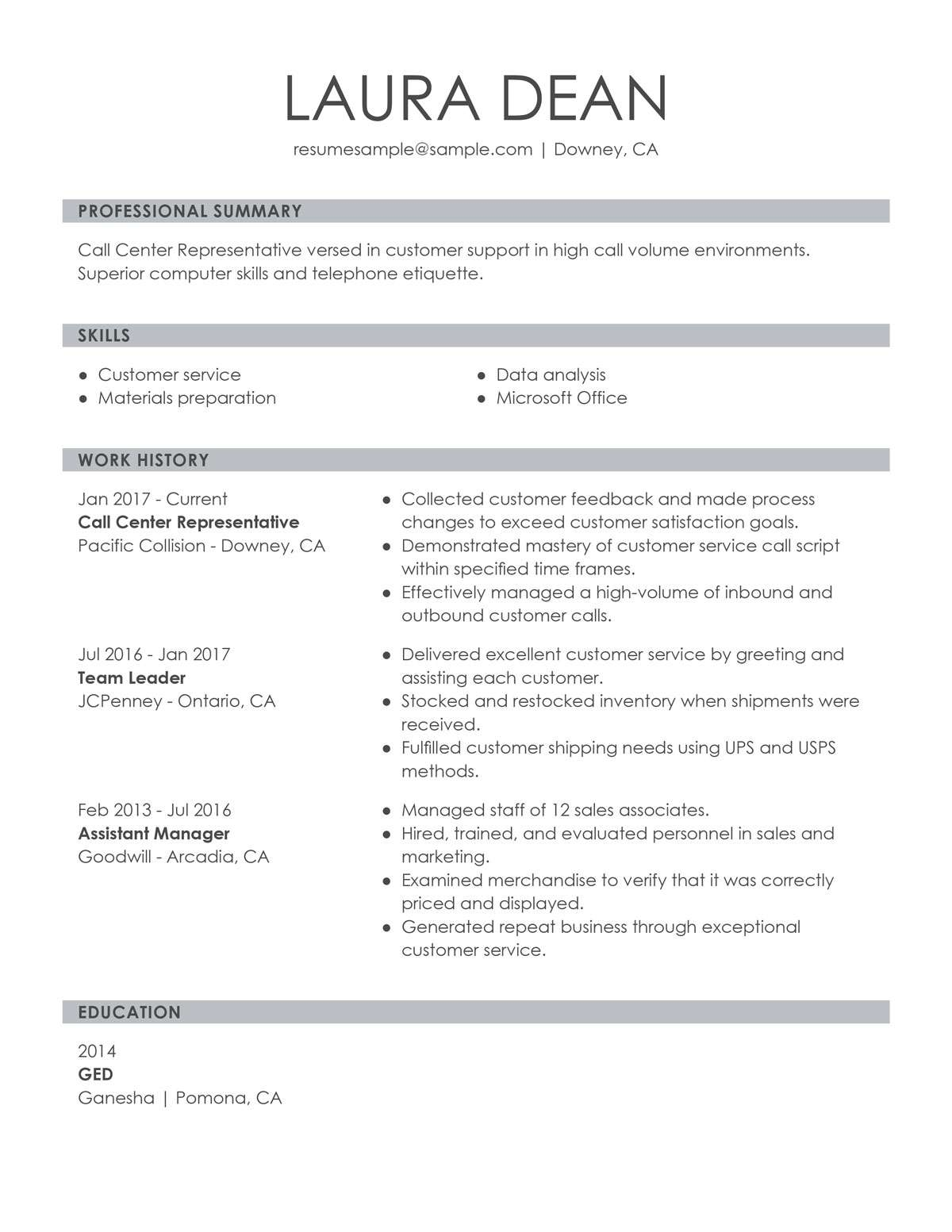 customer service representative sample resume ats